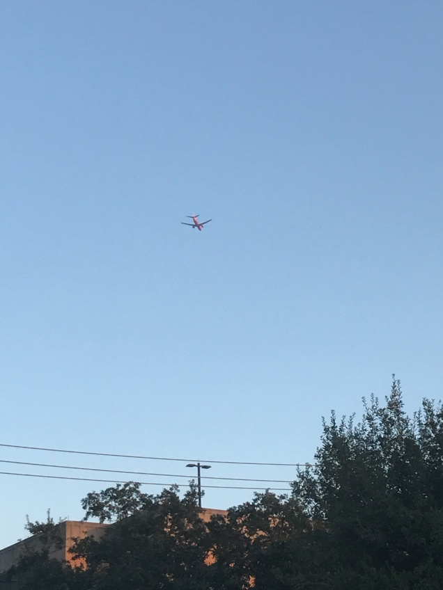 airplane houston sky